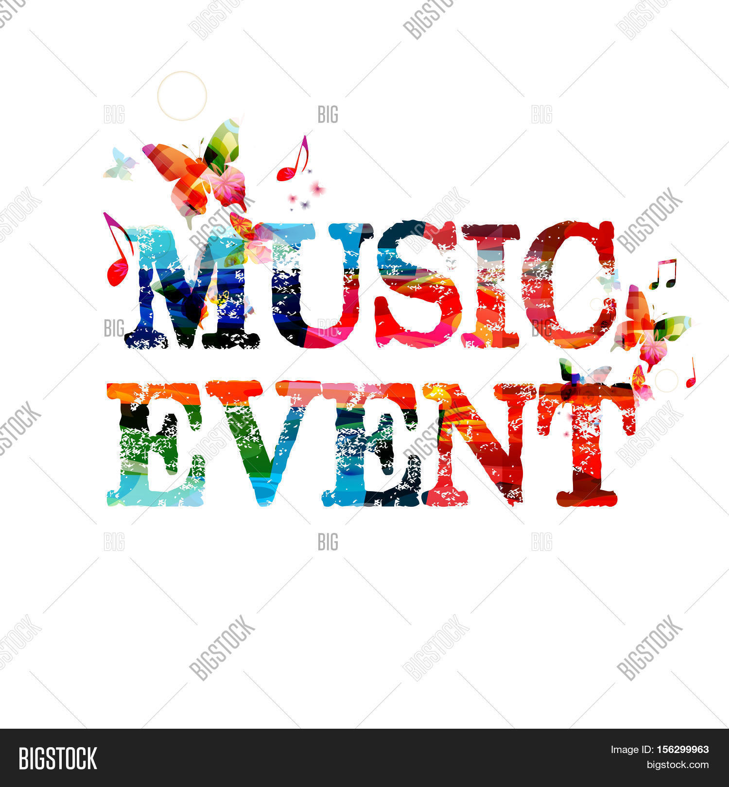Poster design notes - Colorful Typographic Music Background Music Event Poster Design Music Event Inscription With Music Notes