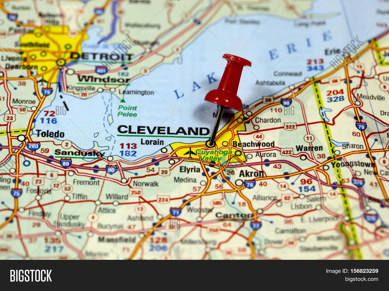 Map Pin Point Cleveland Ohio USA Image Photo Bigstock - Usa map cleveland