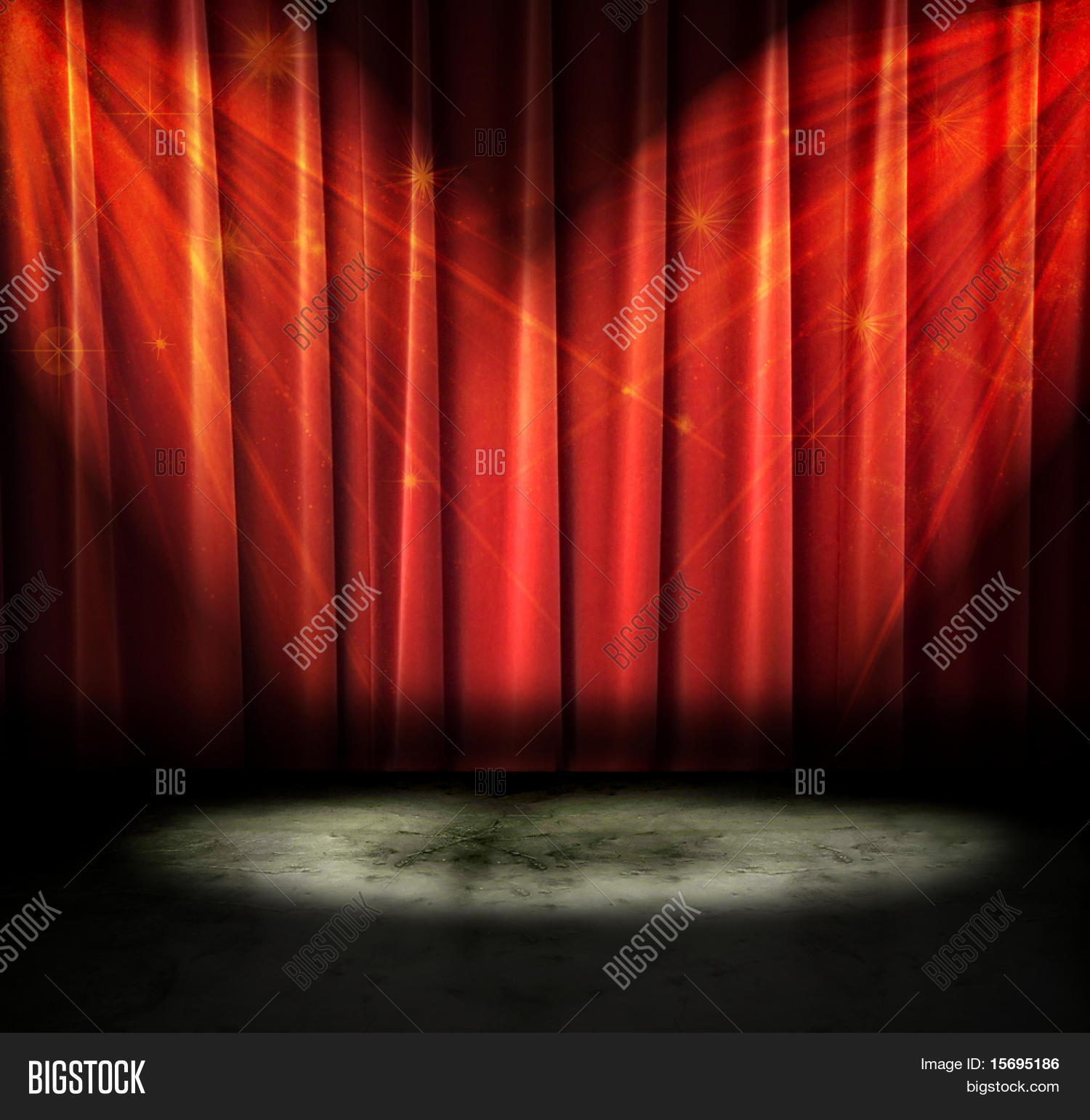 Red stage curtain with lights - Red Curtains On A Stage With Sparkly Lights