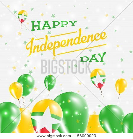 Myanmar Independence Day Patriotic Design. Balloons In National Colors Of The Country. Happy Indepen