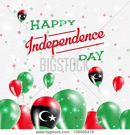 Libya Independence Day Patriotic Design. Balloons In National Colors Of The Country. Happy Independe