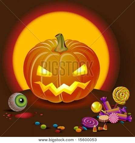 vector halloween pumpking with treatment