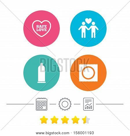 Condom safe sex icons. Lovers Gay couple signs. Male love male. Heart symbol. Calendar, cogwheel and report linear icons. Star vote ranking. Vector