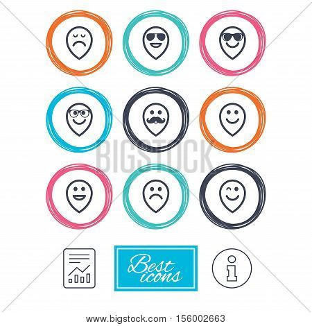 Smile pointers icons. Happy, sad and wink faces signs. Sunglasses, mustache and laughing lol smiley symbols. Report document, information icons. Vector