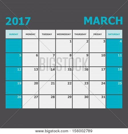 March 2017 calendar week starts on Sunday, stock vector