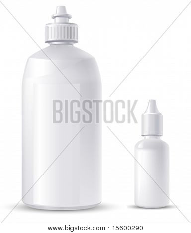 two containers (for eye drops and contact lens solution) vector