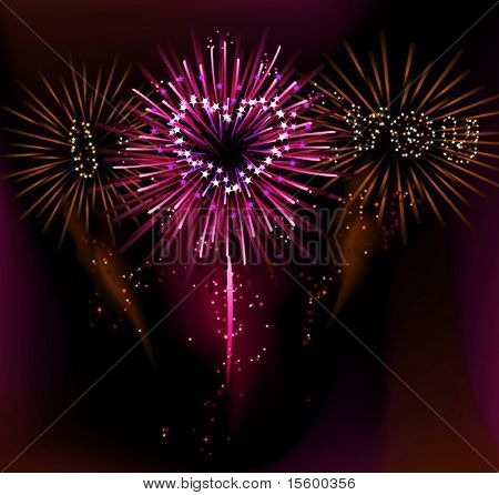 i love you fireworks ( vector illustration)