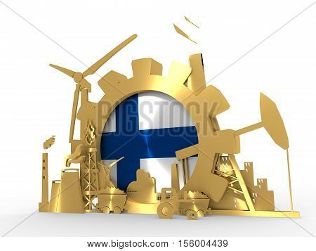 Energy and Power icons set with Finland flag. Sustainable energy generation and heavy industry. 3D rendering. Golden material