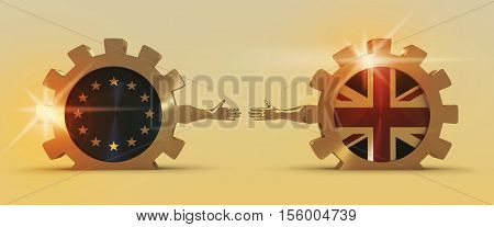 United Kingdom exit from Europe relative image. Brexit named politic process. National flags on golden cog wheels. 3D rendering. Handshake metaphor
