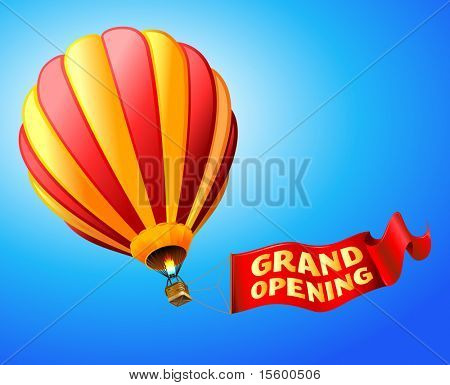 vector illustration of hot air balloon with red sign