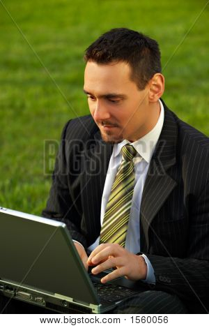 Young Businessman With Laptop In A Park
