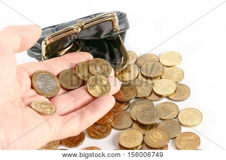 Black leather purse and Russian metal coins