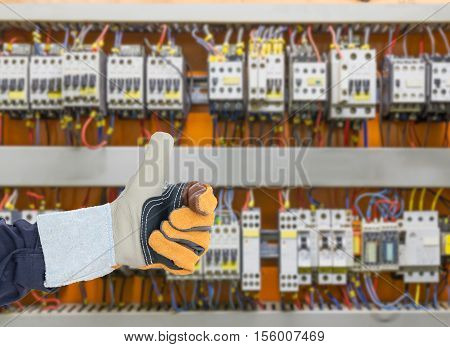 Leather Glove With Control Panel Cabinet Background