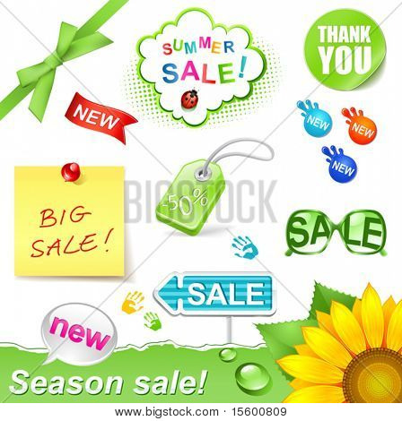 vector illustration summer sale set