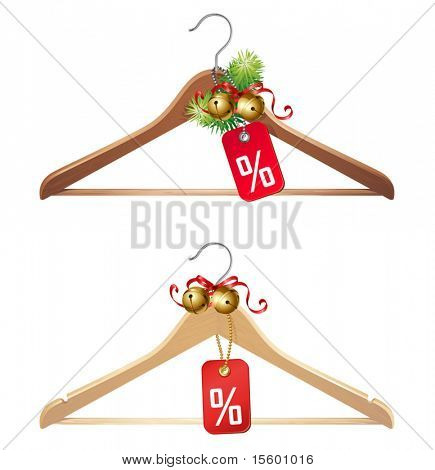 christmas sale icon - hanger with gift tag