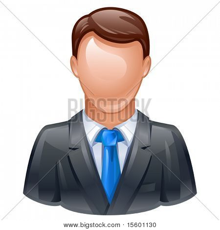 vector illustration of man in business suit as user icon