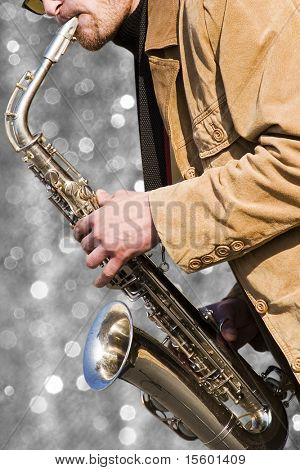 Musician on  silver sparkling background