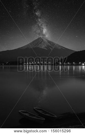 Mount fuji at Lake kawaguchiko. Milky Way black and white