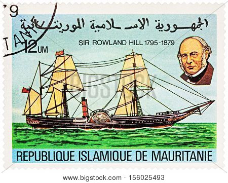 MOSCOW RUSSIA - NOVEMBER 08 2016: A stamp printed in Mauritania shows old paddle-boat series
