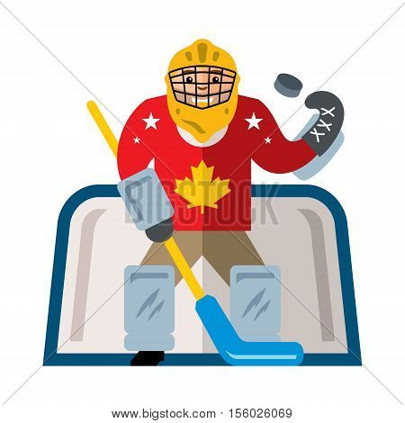 The sportsman in protective garb at the gate with a stick catches the puck. Isolated on a white background