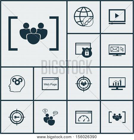 Set Of Marketing Icons On Security, Keyword Marketing And Questionnaire Topics. Editable Vector Illu