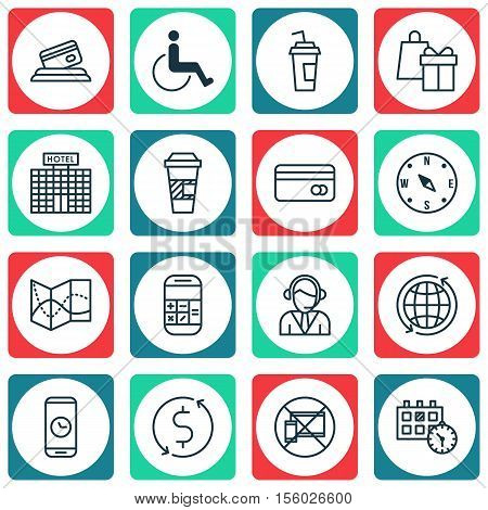 Set Of Travel Icons On Money Trasnfer, Appointment And Road Map Topics. Editable Vector Illustration