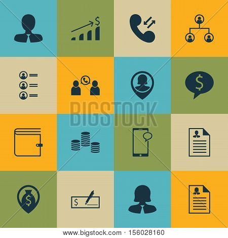 Set Of Management Icons On Money, Cellular Data And Phone Conference Topics. Editable Vector Illustr