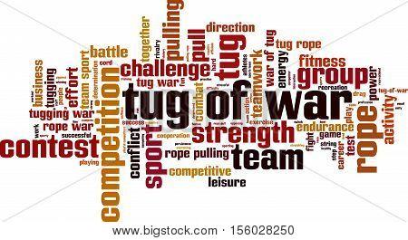 Tug of war word cloud concept. Vector illustration