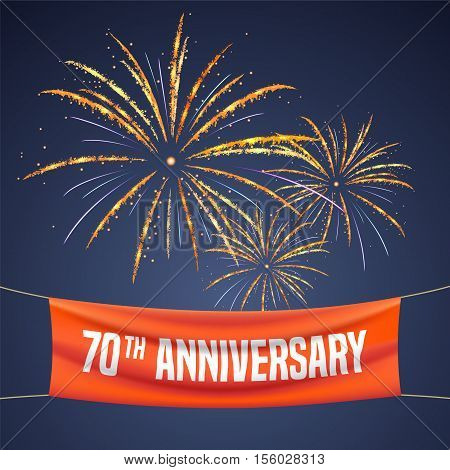 70 years anniversary vector illustration banner flyer logo icon symbol invitation. Graphic design element with fireworks for 70th anniversary birthday greeting event celebration