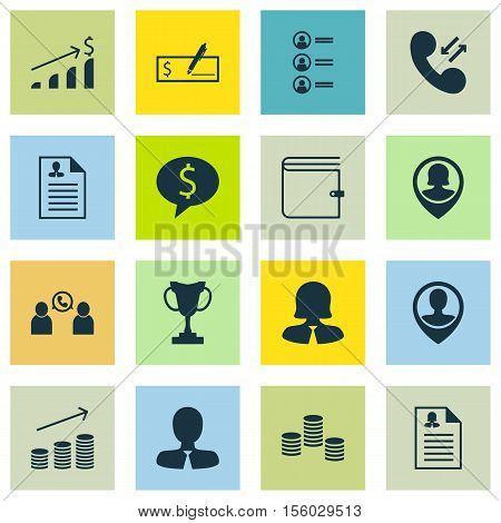 Set Of Human Resources Icons On Business Woman, Female Application And Cellular Data Topics. Editabl