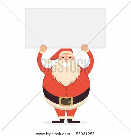 Cute Cartoon Santa Claus Standing With Hands Up Holding Blank Banner. Cheerful And Smiling Father Fr