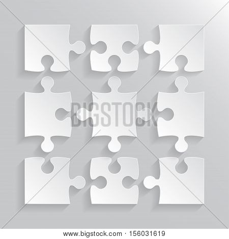 9 Grey Puzzles Pieces Arranged in a Square - JigSaw - Vector Illustration.