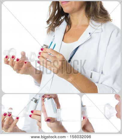 Female doctor is showing the performance of the inhalation chamber - Collage of four images - Isolated on a white background