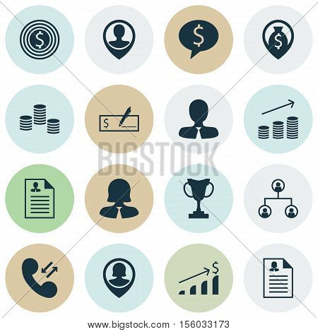 Set Of Management Icons On Cellular Data, Manager And Employee Location Topics. Editable Vector Illu