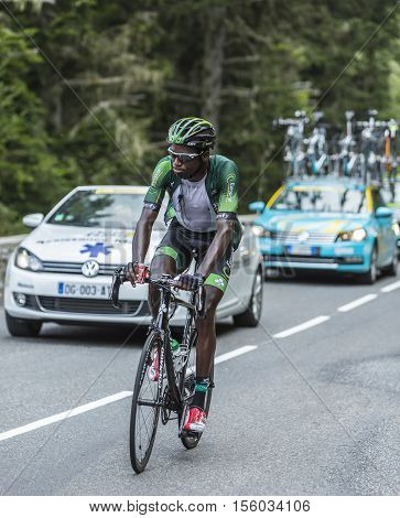 Col du Tourmalet France - July 242014: The French cyclist Kevin Reza of Team Europcar climbing the difficult road to Col du Tourmalet in Pyrenees Mountains during the stage 18 of Le Tour de France 2014.