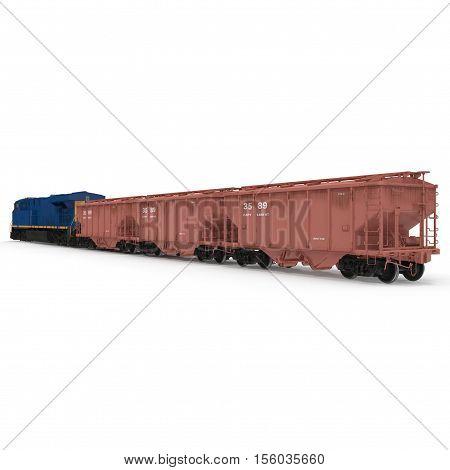Cargo train with bogie Hopper Wagon on white background. 3D illustration