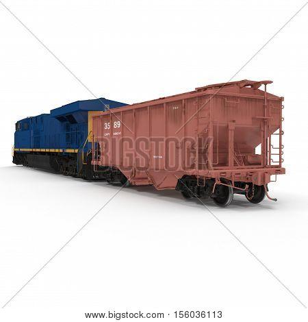 Locomotive and Hopper Wagon on white background. 3D illustration