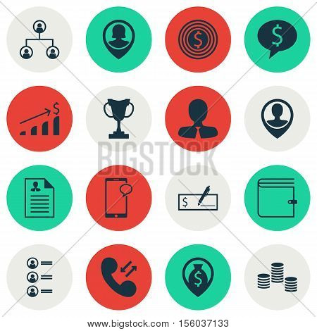 Set Of Hr Icons On Cellular Data, Business Deal And Bank Payment Topics. Editable Vector Illustratio