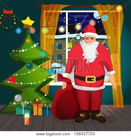 Santa Claus carrying a bag of Christmas presents dropping a present under the Christmas tree. Flat cartoon vector illustration