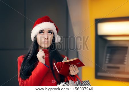 Funny Broke Christmas Woman Holding a Coin