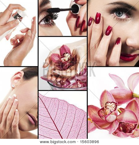 Collage of several photos for healthcare and beauty industry