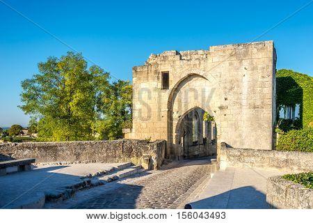 Ruins of Brunet Gate in Saint Emilion - France