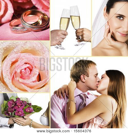 Collage of several photos for wedding or valentine's day