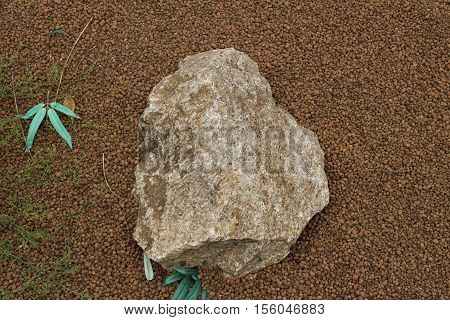 Expanded clay background and stone/This is decorative artificial material to plants.
