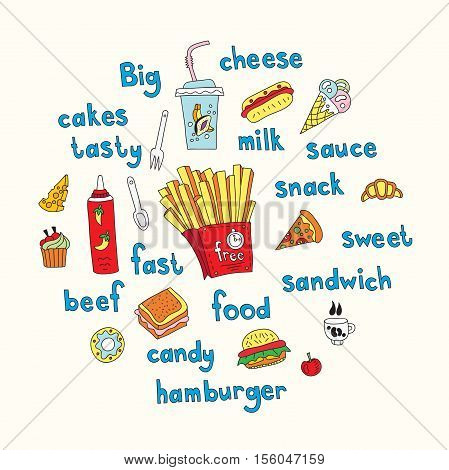 Fast food, french fries, hamburger, cheese, muffins, donuts, ice cream, milkshake. Handwritten inscription, text, font. Vector work for flyers, menus, packaging, advertising, cafes, restaurants.