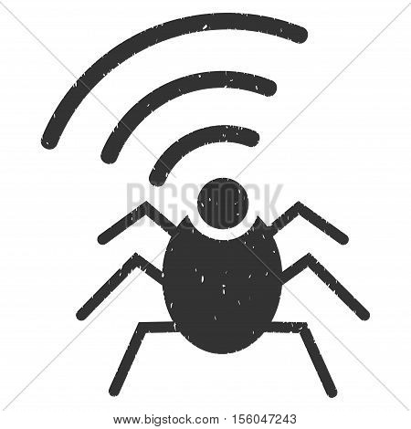 Radio Spy Bug rubber seal stamp watermark. Icon vector symbol with grunge design and corrosion texture. Scratched gray ink emblem on a white background.