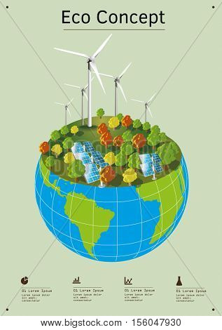 Wind power generators are standing on the top of the globe. Renewable power of the wind or solar energy helps protect the environment and the nature. Concept vector image.