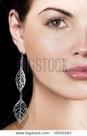 Beauty with silver earring