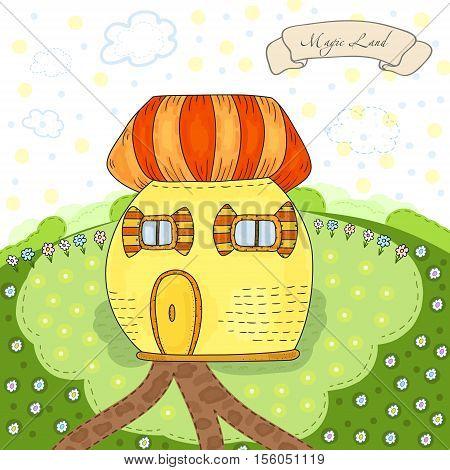 Fairytale colorful cute house in cartoon style - cute postcard. Vector hand drawn illustration. Printable template