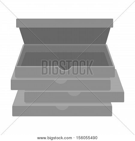 Pizza boxes icon in monochrome style isolated on white background. Pizza and pizzeria symbol vector illustration.